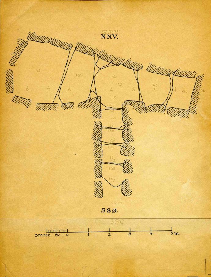 Grundplan over Glentehøj år 1925, Gustav Rosenberg, Arkiv Nationalmuseet